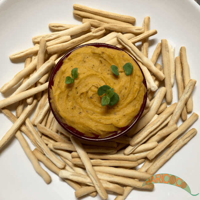 sweet potato dip with italian bread sticks