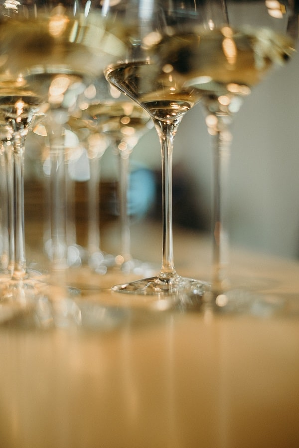 wineglasses photographed from bottom