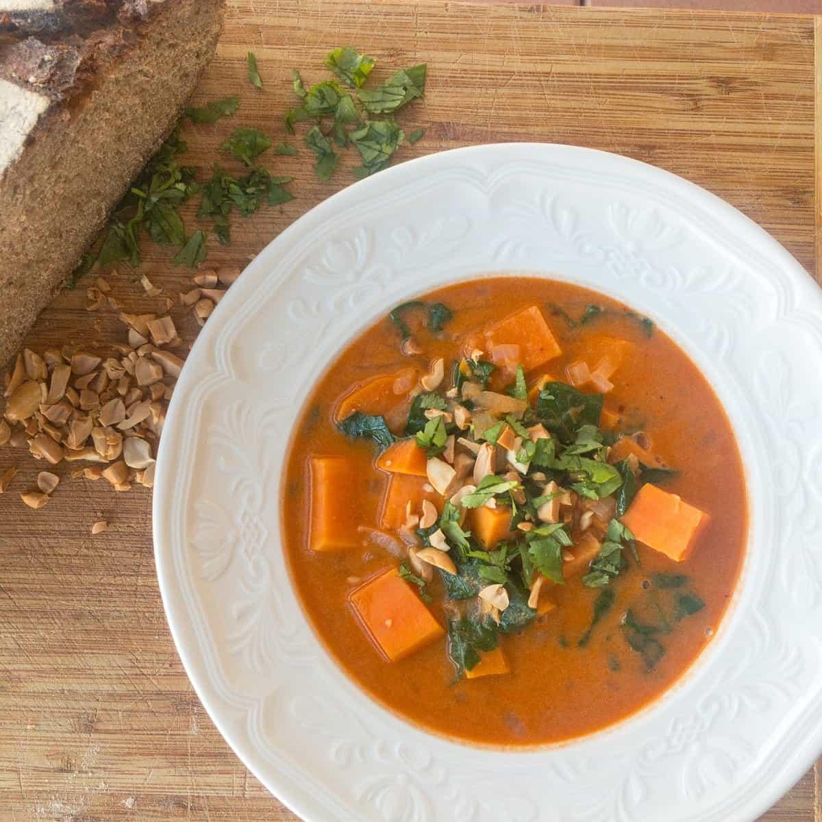 peanut soup on plate