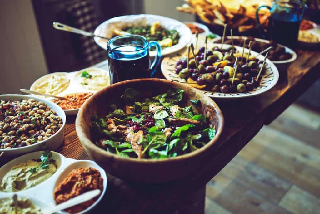 oriental style salads and dips.