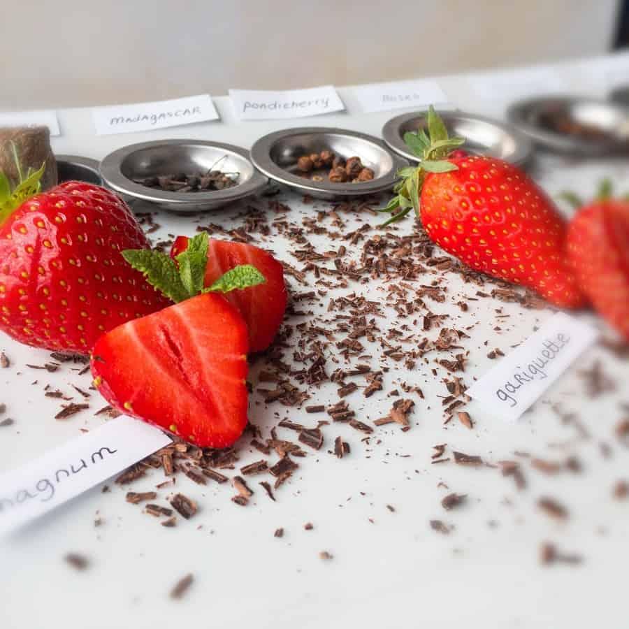 strawberries and pepper tasting platter